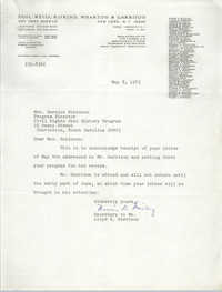 Letter from Lloyd K. Garrison to Bernice Robinson, May 8, 1973