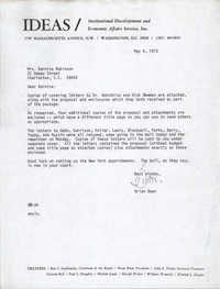 Letter from Brian Beun to Bernice Robinson, May 4, 1973