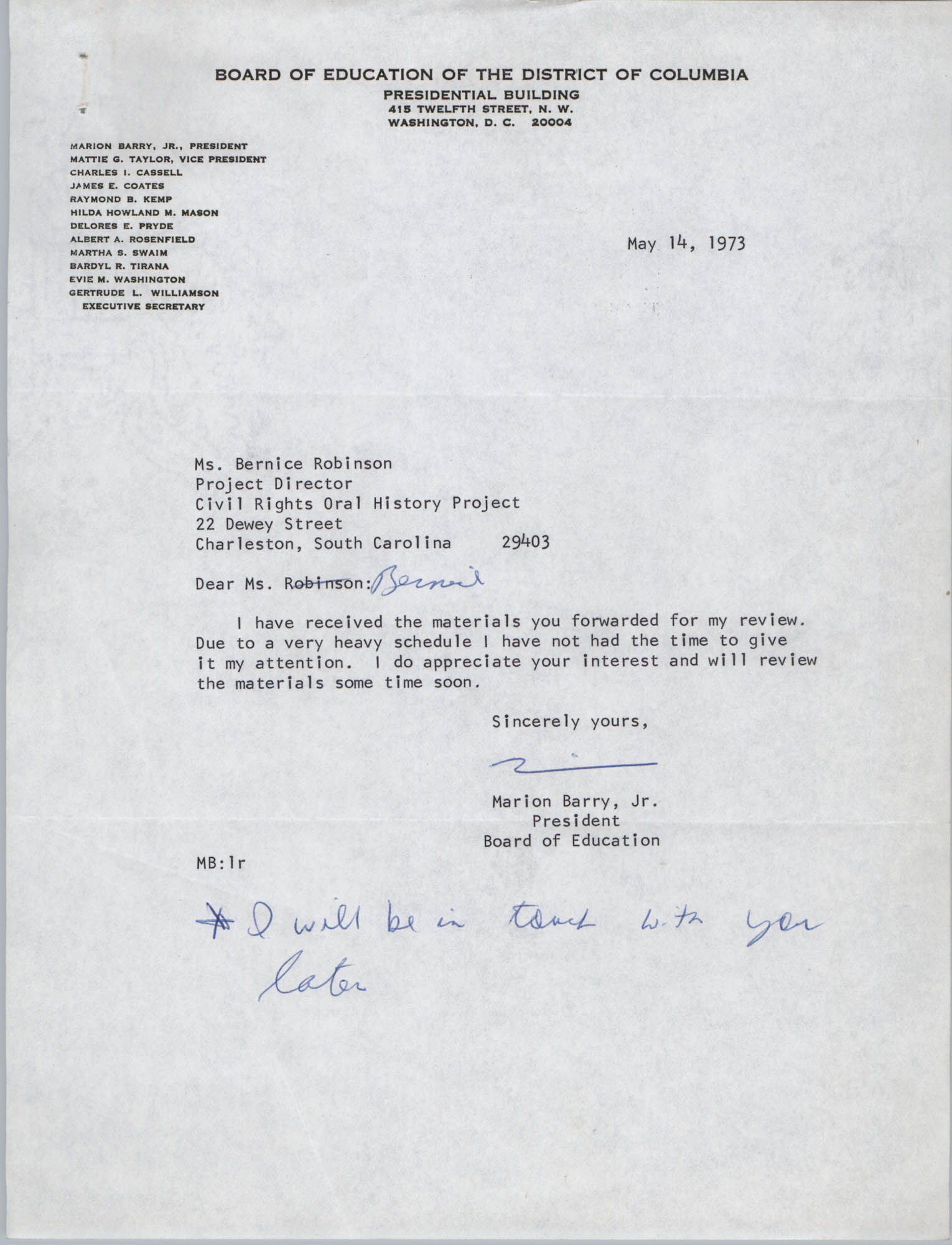 Letter from Marion Barry, Jr. to Bernice Robinson, May 14, 1973