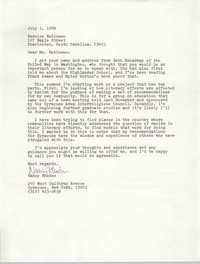 Letter from Nancy Rhodes to Bernice Robinson, July 1, 1989