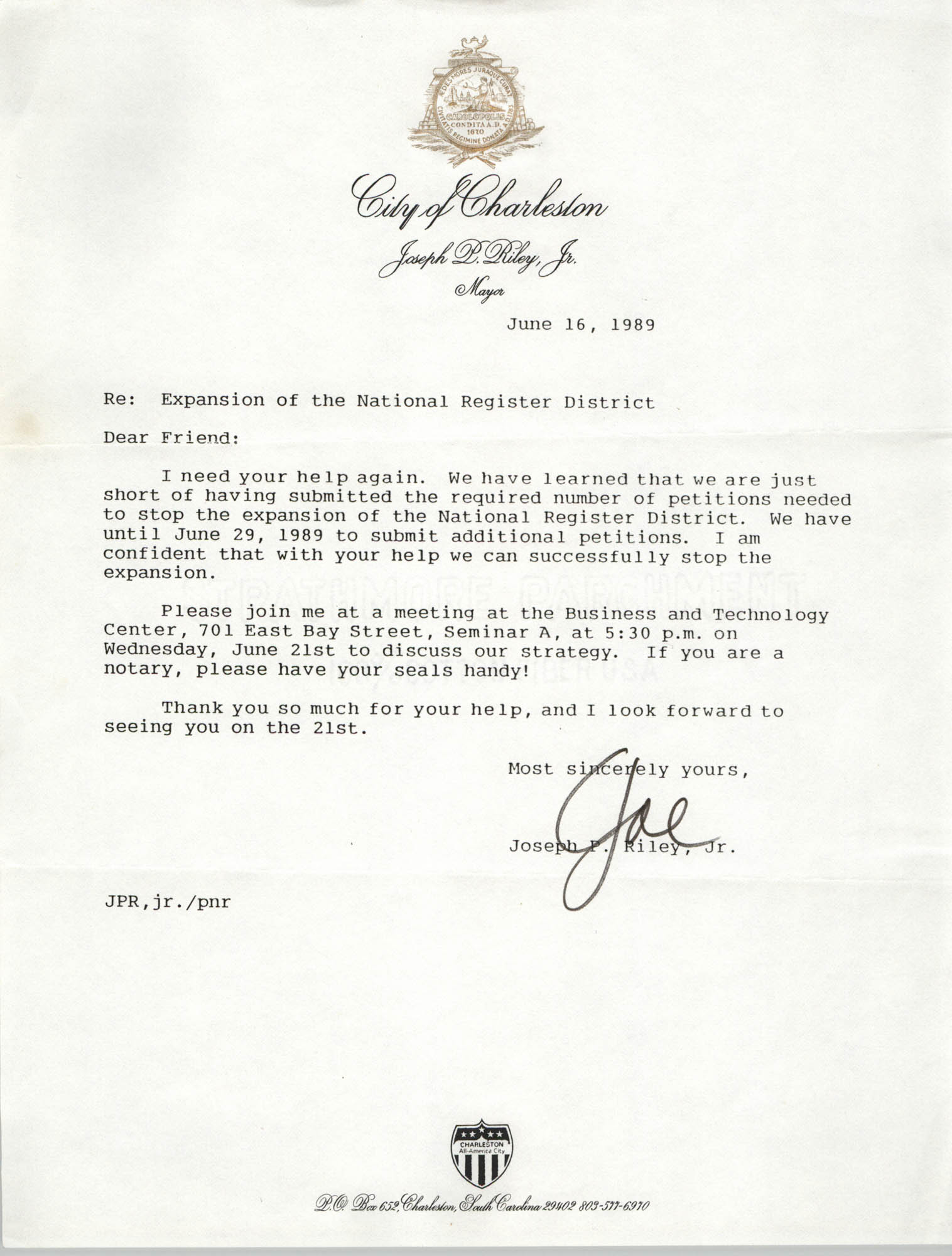 Letter from Joseph P. Riley to Bernice Robinson, June 16, 1989