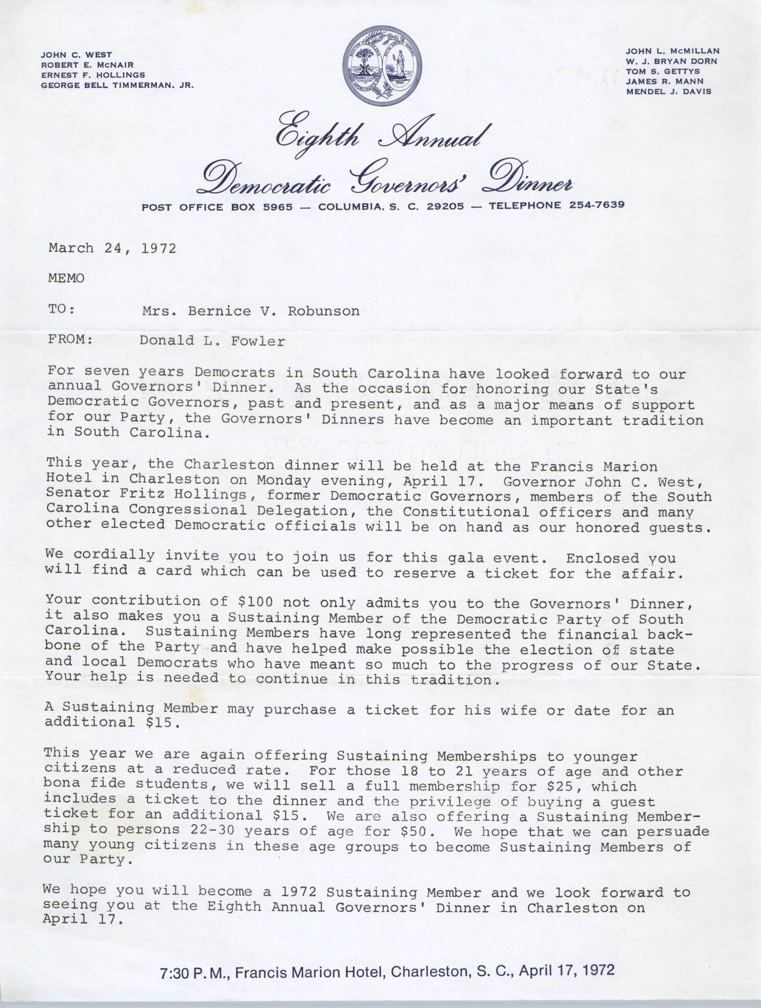 Memorandum from Donald L. Fowler to Bernice Robinson, March 24, 1972