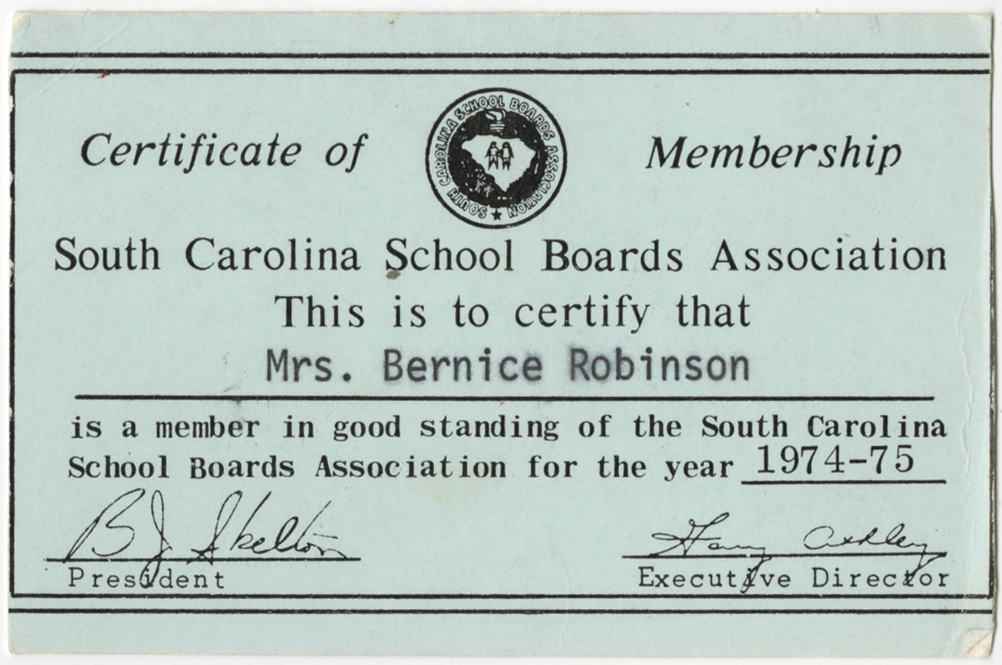 Bernice Robinson's South Carolina School Boards Association Certificate of Membership Card