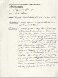 Memorandum from Vicki Storm to Bernice Robinson, April 30, 1971