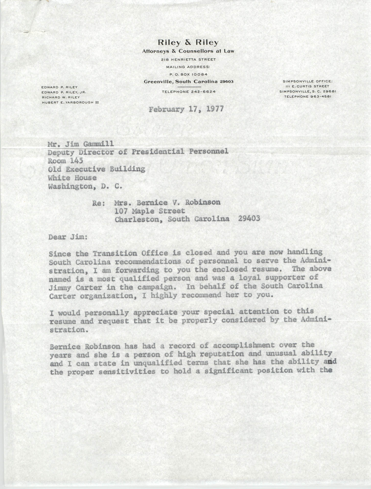 Letter from Richard W. Riley to Jim Gammill and Bernice V. Robinson, February 17, 1977