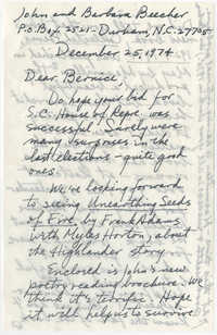 Letter from John and Barbara Beecher to Bernice Robinson, December 25, 1974