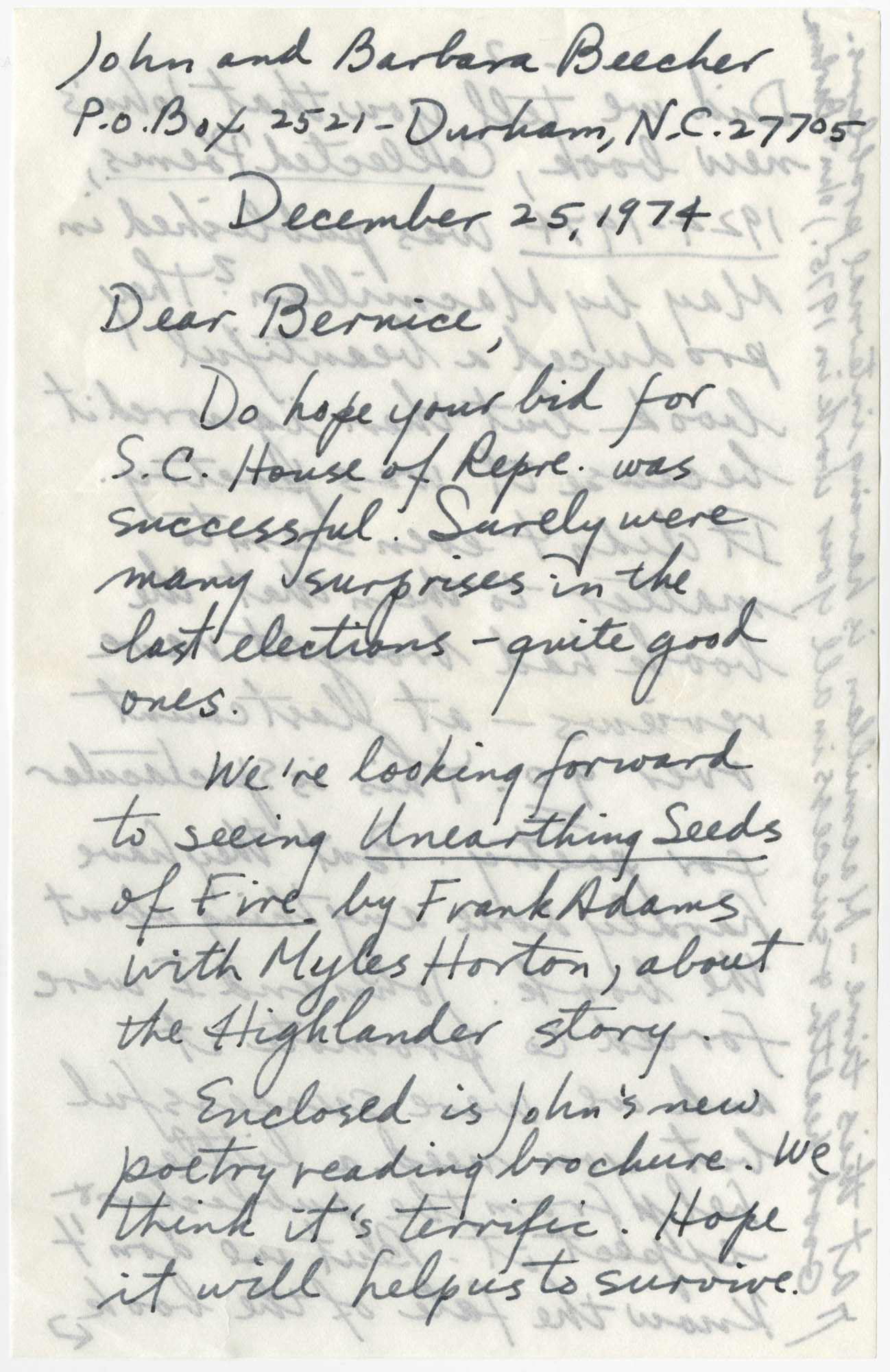 Letter from John and Barbara Beecher to Bernice Robinson, December 25, 1974