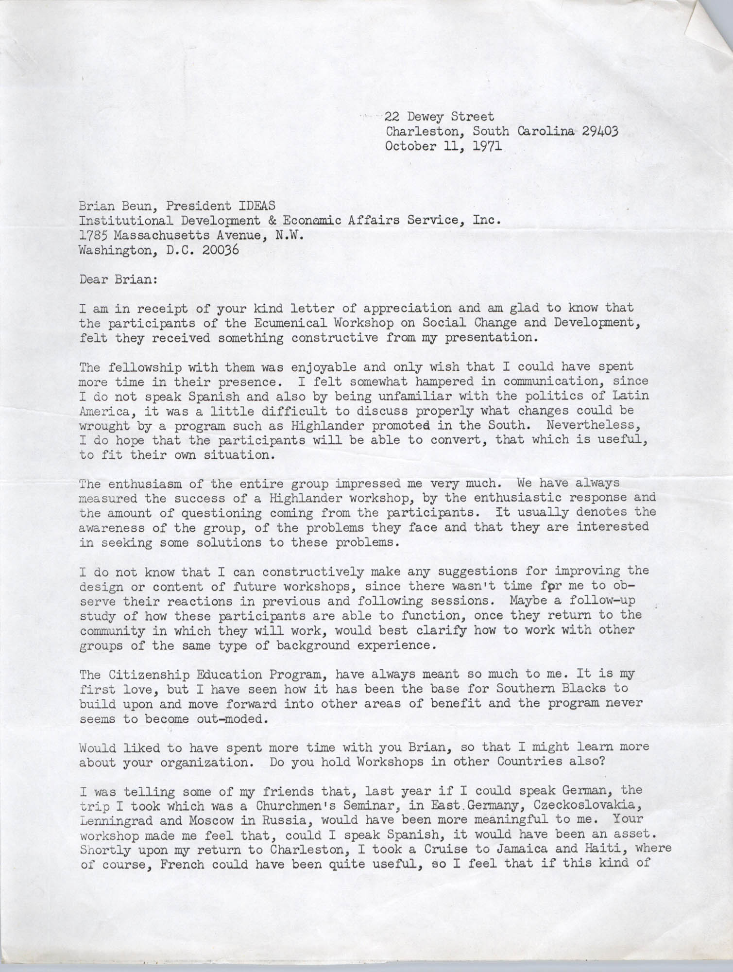 Letter from Bernice Robinson to Brian Beun, October 11, 1971