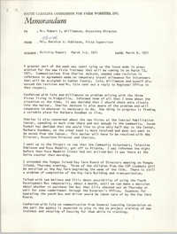 Memorandum from Bernice V. Robinson to Robert Williamson, March 8, 1971