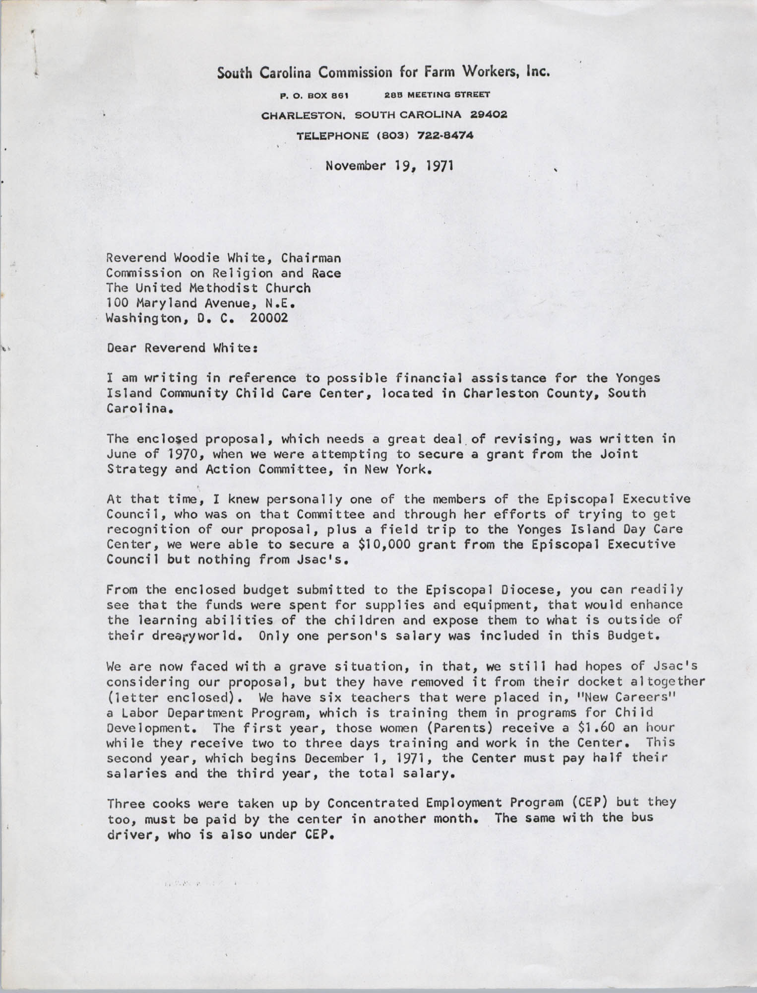 Letter from Bernice V. Robinson to Woodie White, November 19, 1971