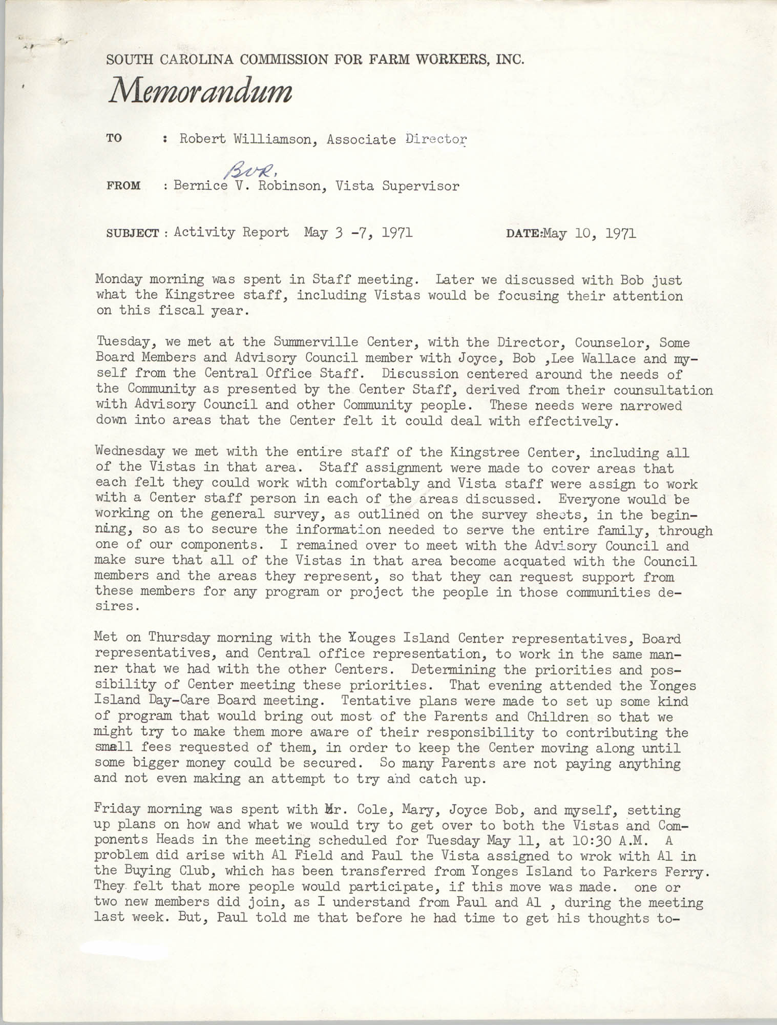 Memorandum from Bernice V. Robinson to Robert Williamson, May 10, 1971