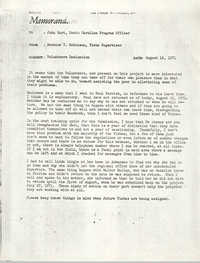 Memorandum from Bernice V. Robinson to John Hurt, August 16, 1971