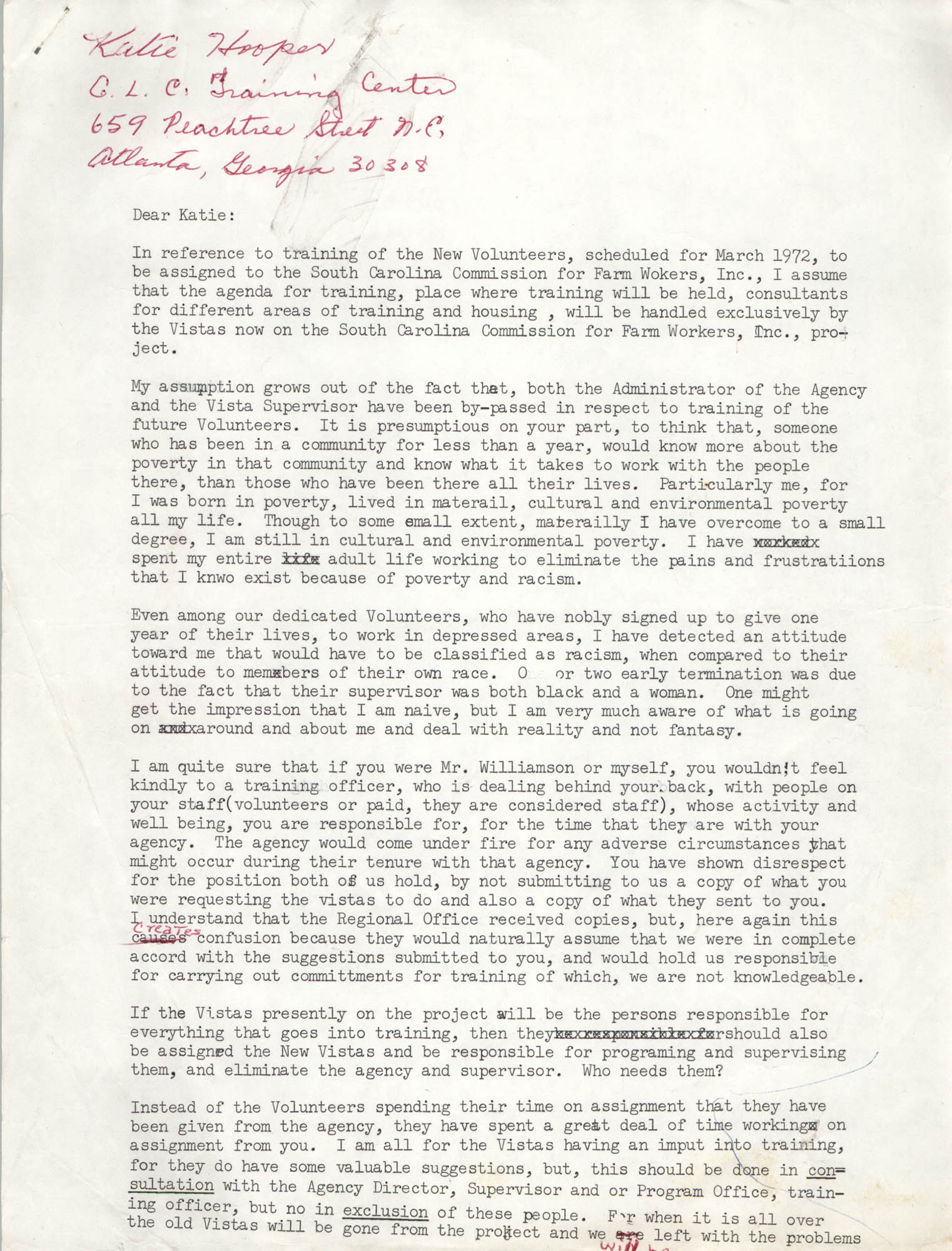 Letter from Bernice Robinson to Katie Hooper, 1972
