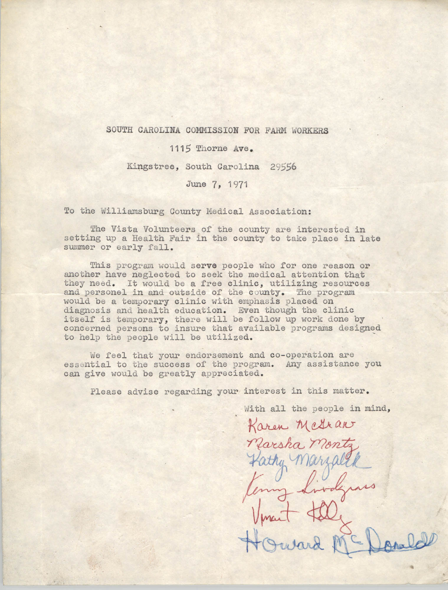 Letter from South Carolina Commission for Farm Workers to Williamsburg County Medical Association