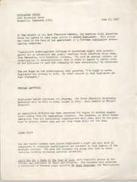 Press Release from Highlander Center, June 17, 1967