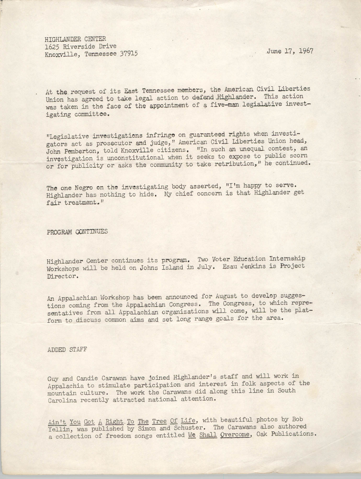 Press Release from Highlander Center, June 17, 1967