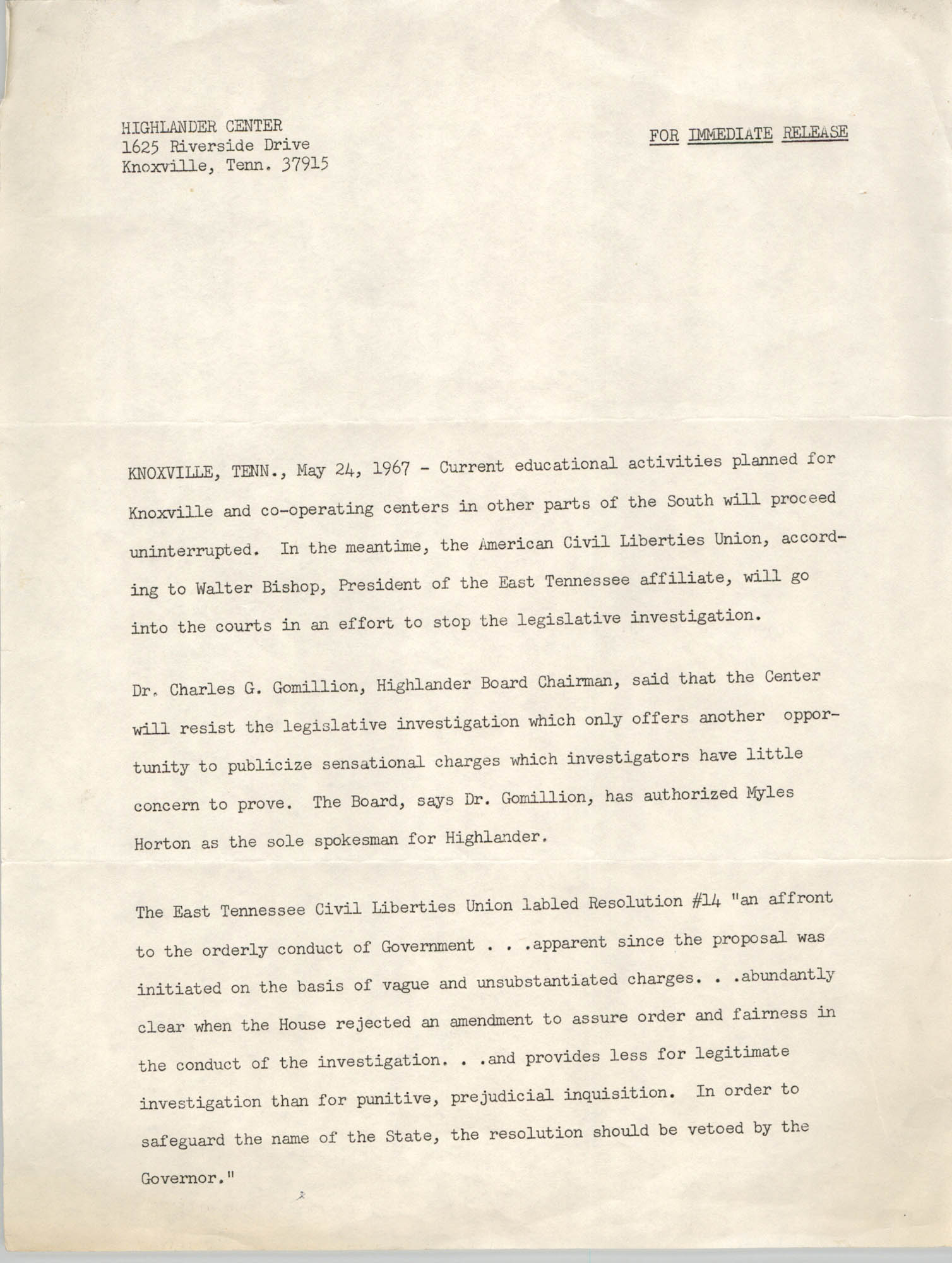 Press Release from Highlander Center, May 24, 1967