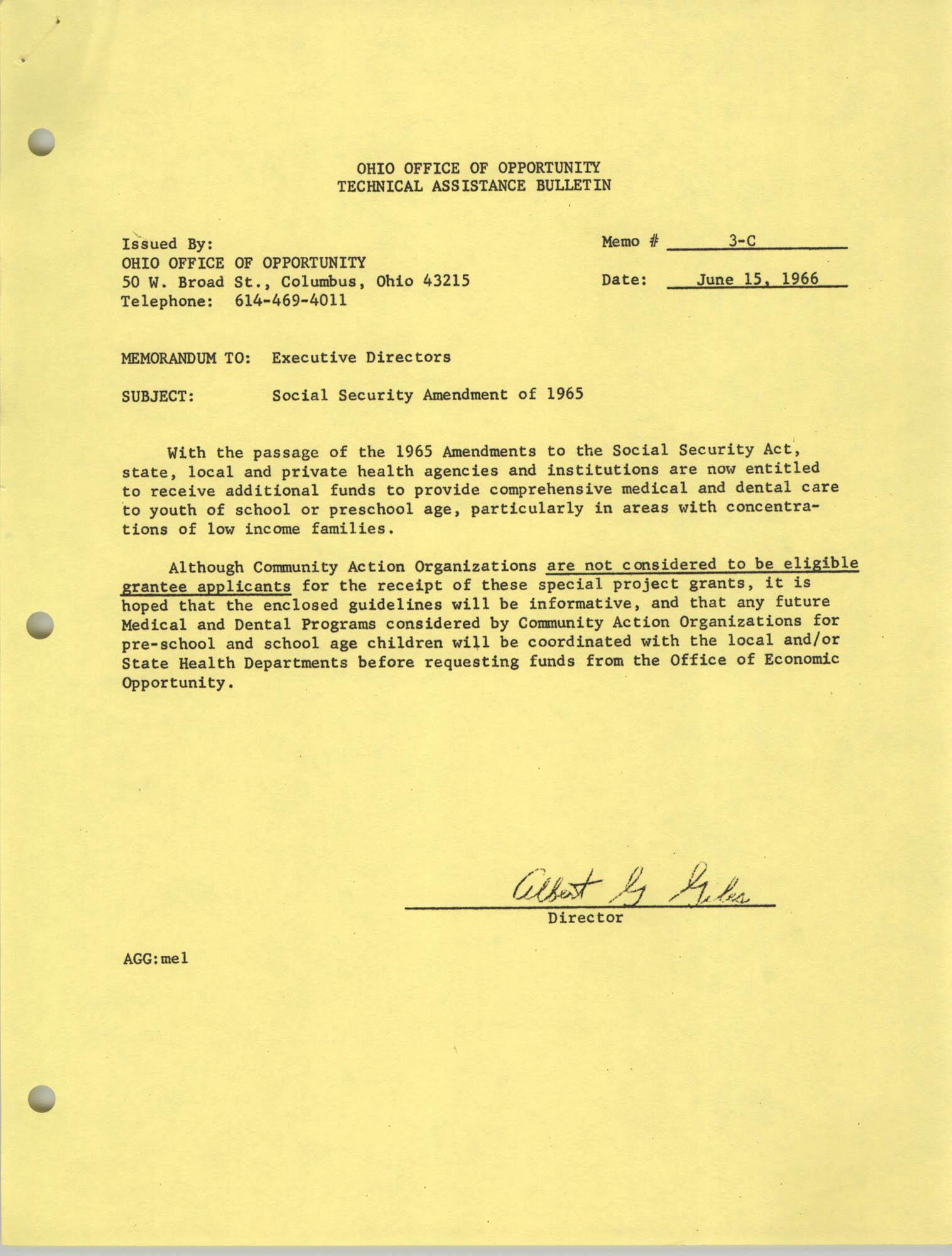 Ohio Office of Opportunity Technical Assistance Bulletin, Memorandum 3-C