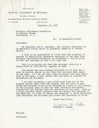 Letter from William J. Bates to Historic Charleston Foundation