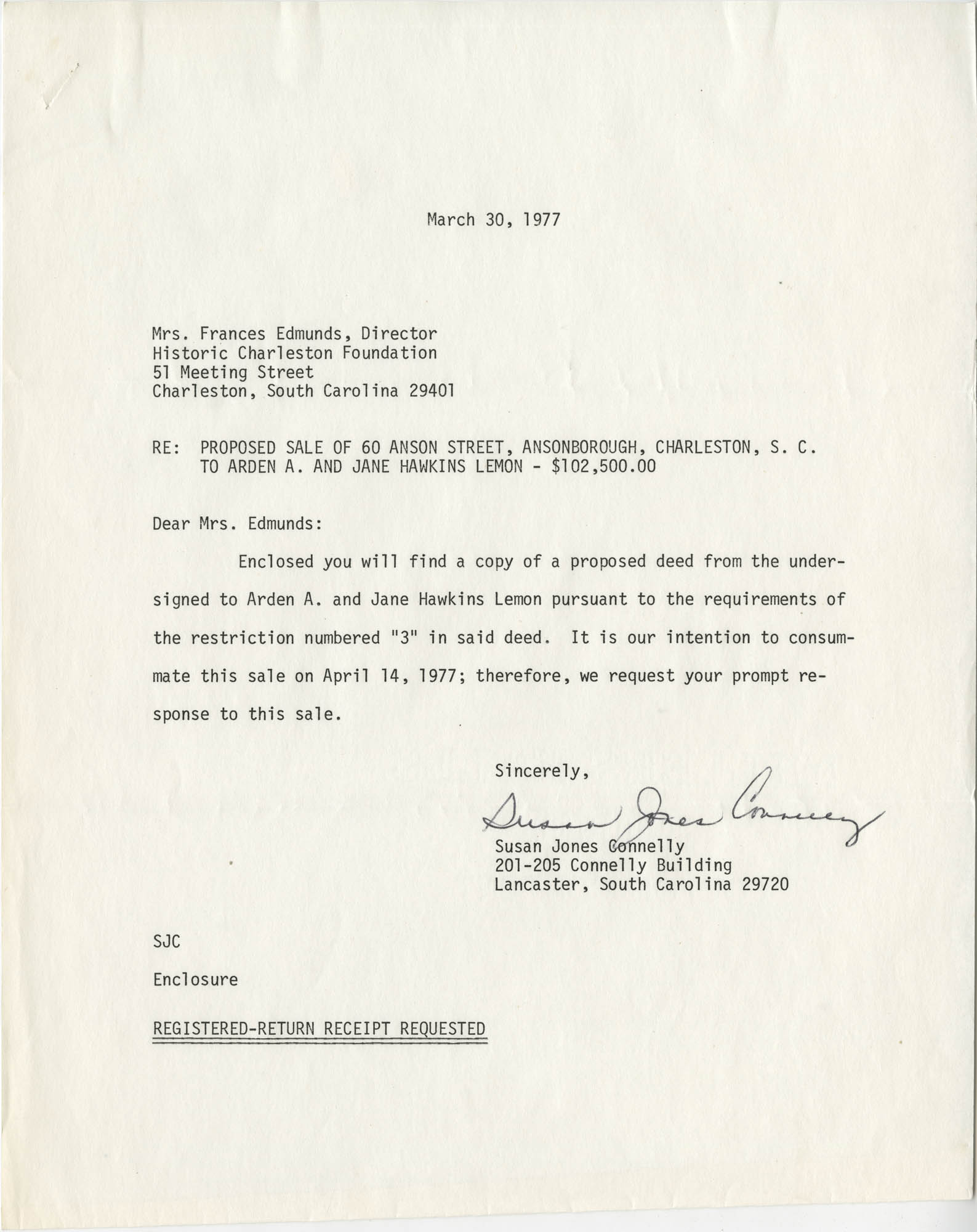 Letter from Susan Jones Connelly to Mrs. Frances Edmunds