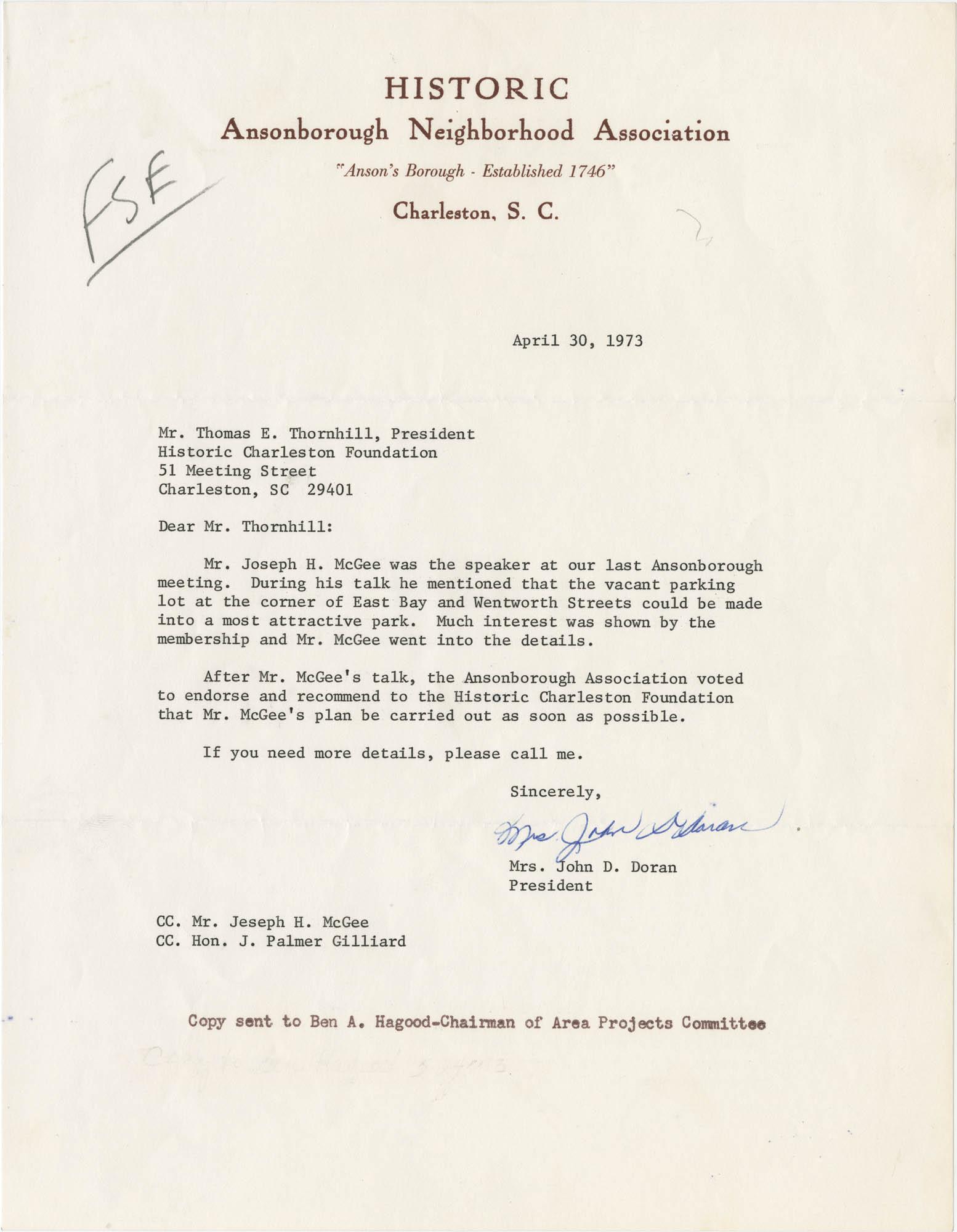 Letter from Mrs. John D. Doran to Thomas E. Thornhill