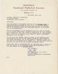 Letter from Glenn Cole to Historic Charleston Foundation