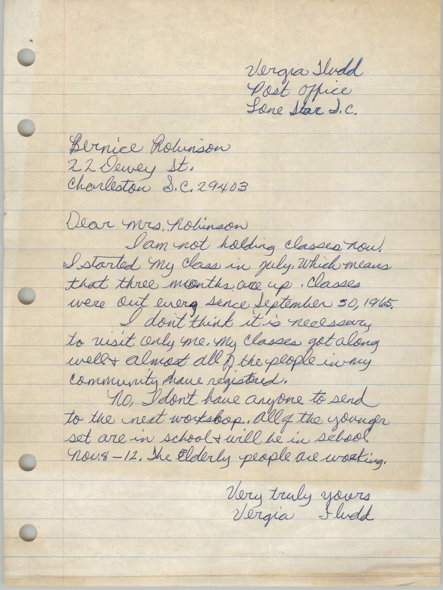 Letter from Vergia Fludd to Bernice Robinson