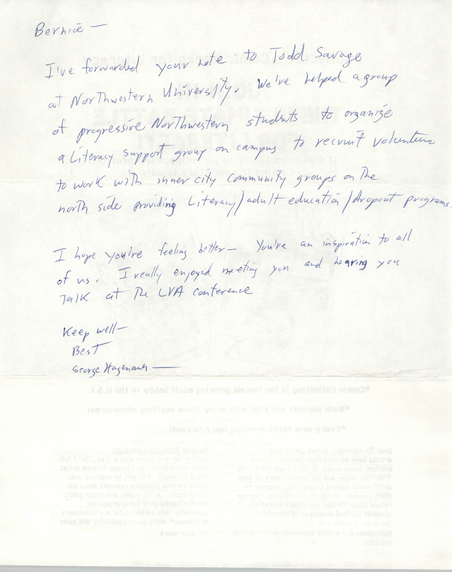 Note from George Hagenauer to Bernice Robinson