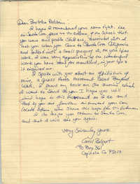 Letter from Carol Belport to Bernice Robinson