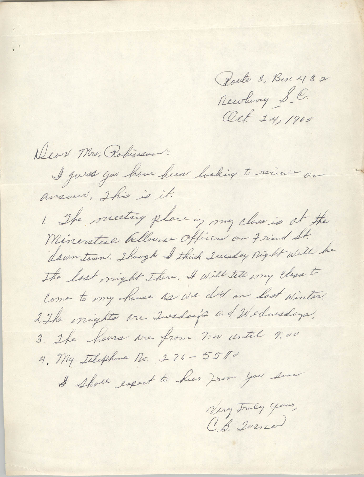 Letter from C. B. Turner to Bernice Robinson, October 24, 1965