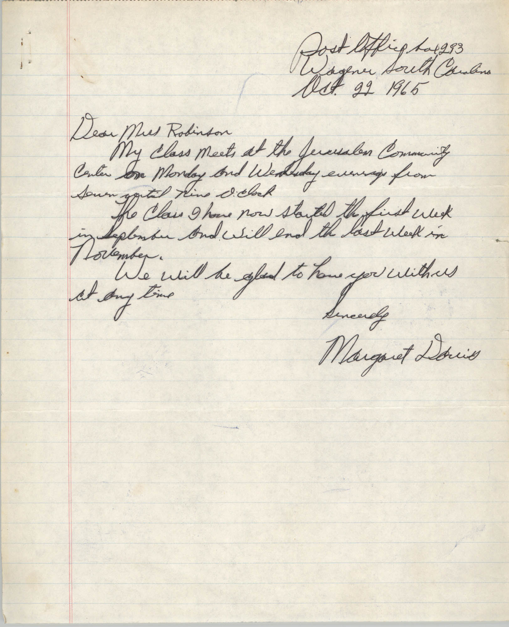 Letter from Margaret Davis to Bernice Robinson, October 22, 1965