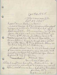 Letter from Essie Banks to Bernice Robinson, October 27, 1965