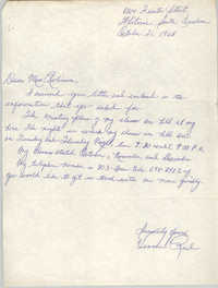 Letter from Jennie Reid to Bernice Robinson, October 21, 1965