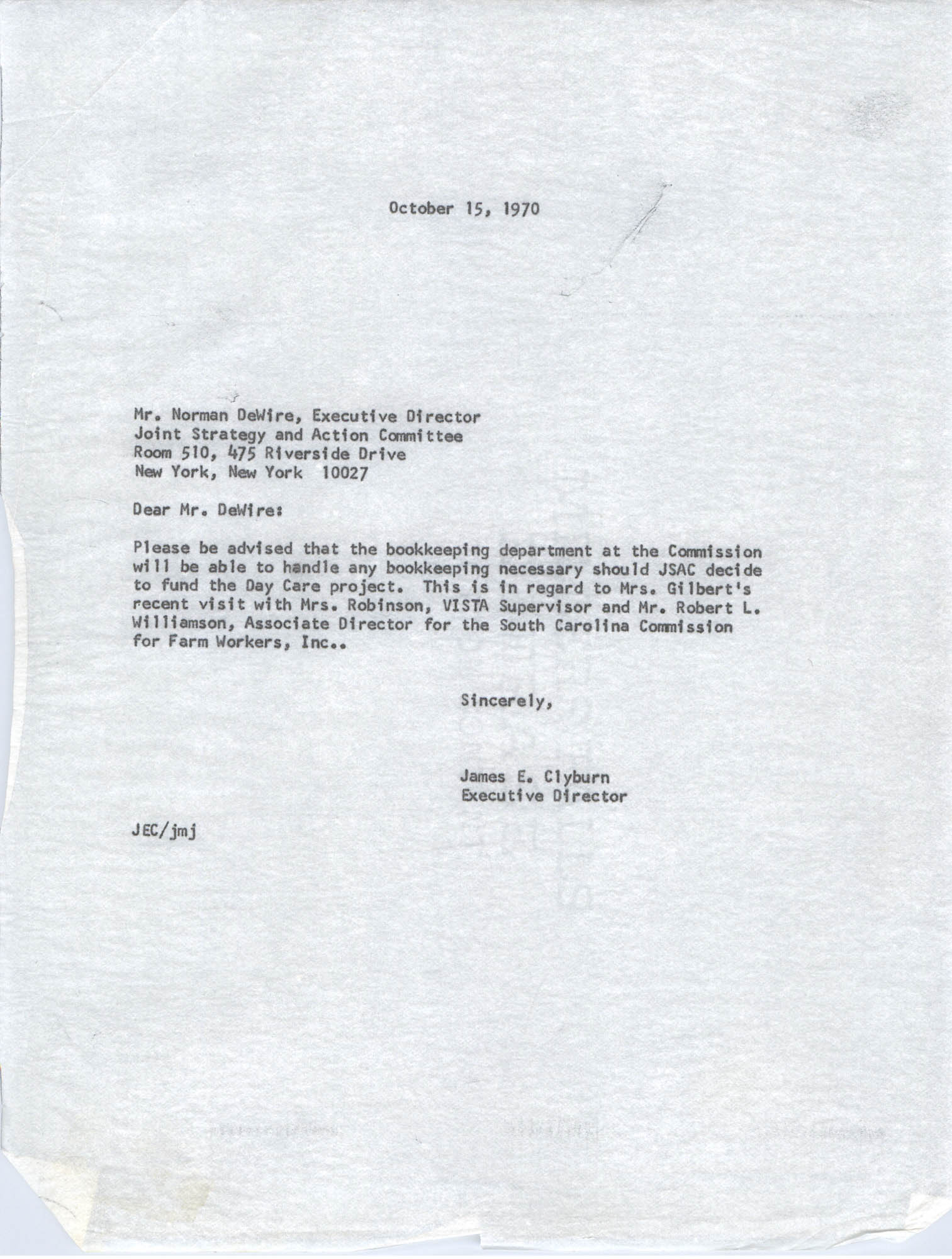 Letter from James E. Clyburn to Norman DeWire, October 15, 1970