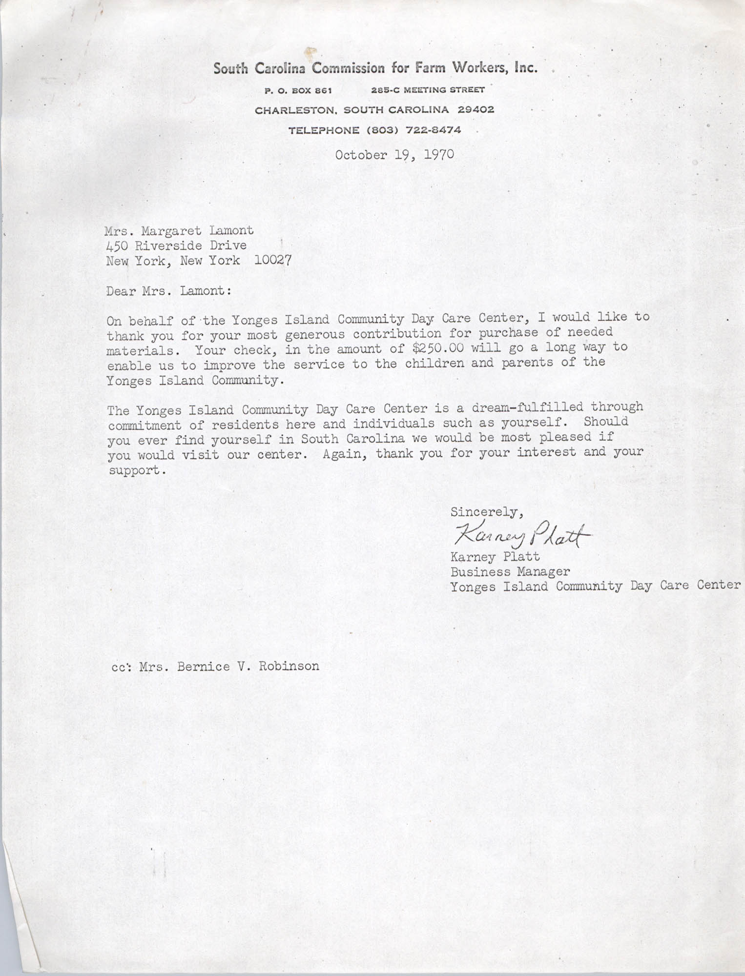 Letter from Karney Platt to Margaret Lamont, October 19, 1970