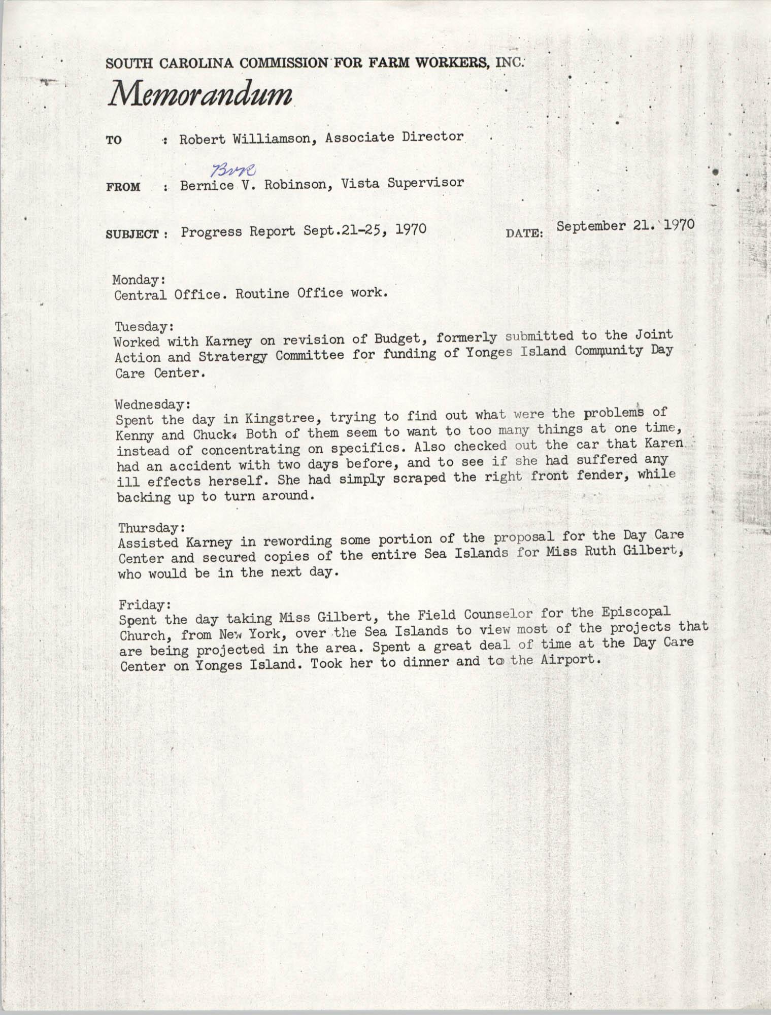 Memorandum from Bernice V. Robinson to Robert Williamson, September 21, 1970