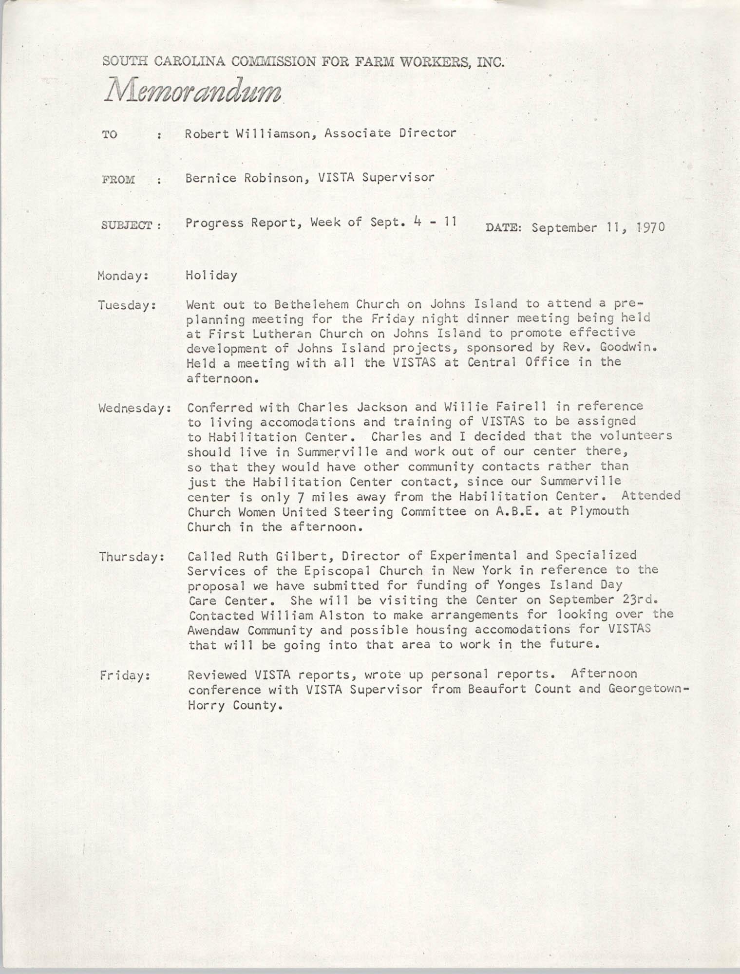 Memorandum from Bernice V. Robinson to Robert Williamson, September 11, 1970