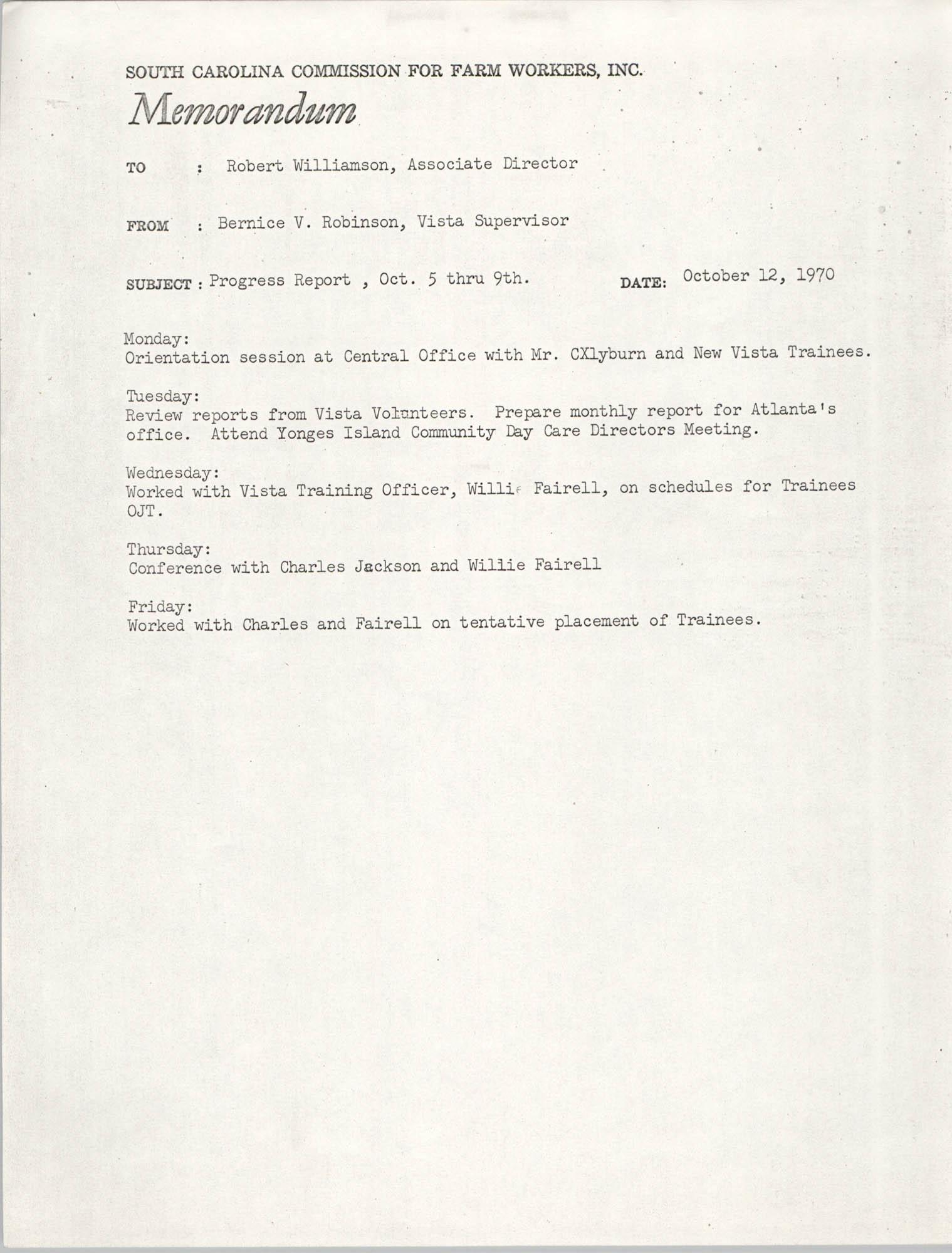 Memorandum from Bernice V. Robinson to Robert Williamson, October 12, 1970