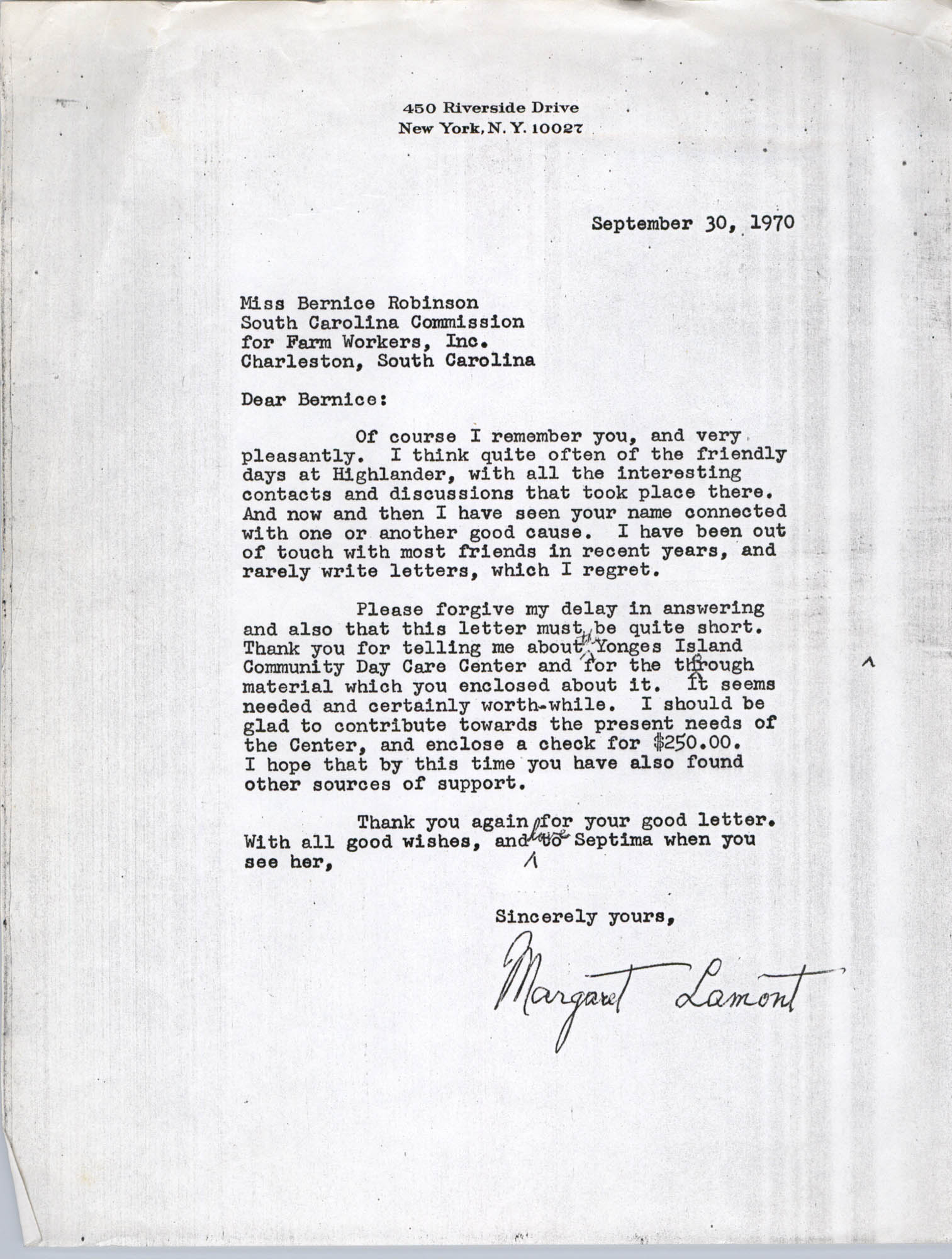 Letter from Margaret Lamont to Bernice Robinson, September 30, 1970