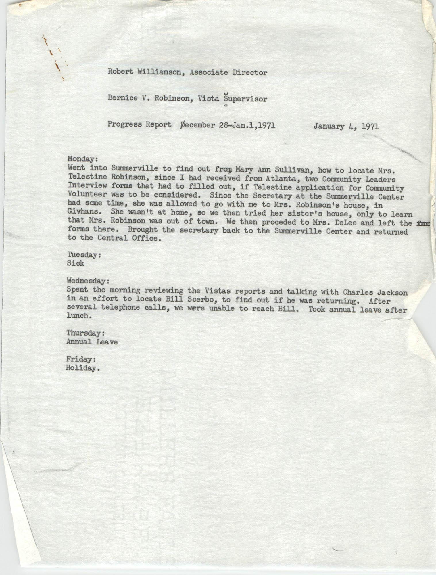 Memorandum from Bernice V. Robinson to Robert Williamson, January 4, 1971