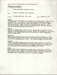 Memorandum from Bernice V. Robinson to Robert Williamson, January 18, 1971