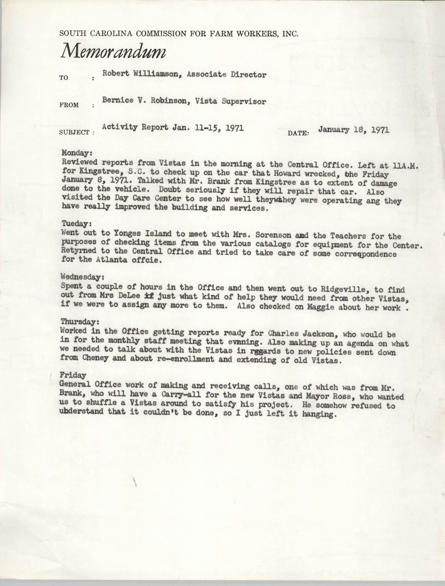 Memorandum from Bernice V. Robinson to Robert Williamson, January 18, 1971