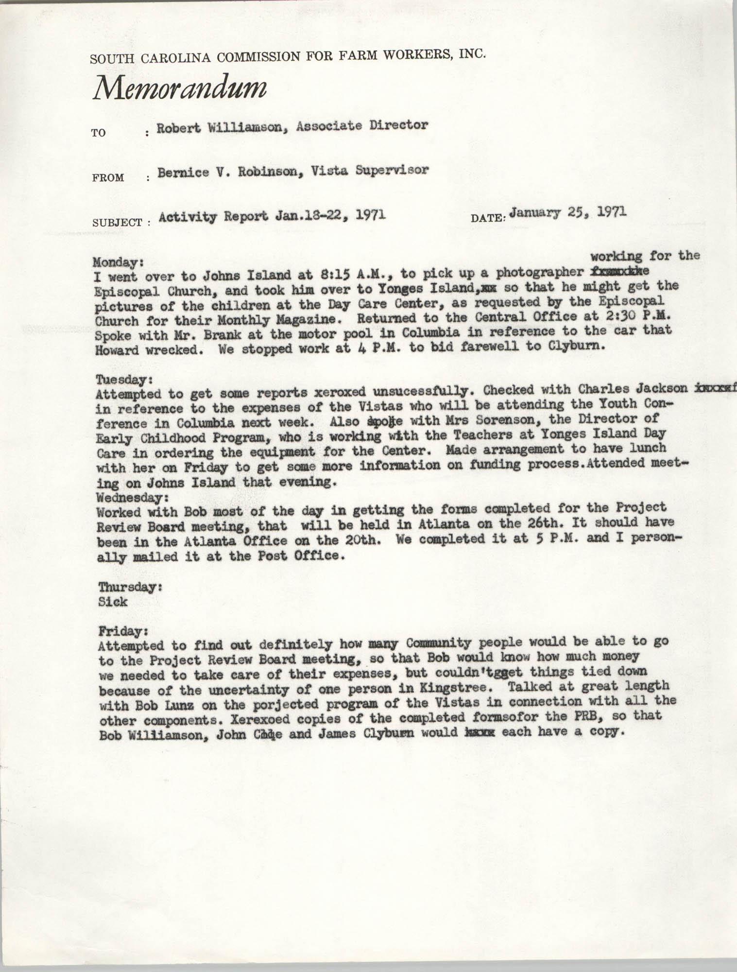 Memorandum from Bernice V. Robinson to Robert Williamson, January 25, 1971