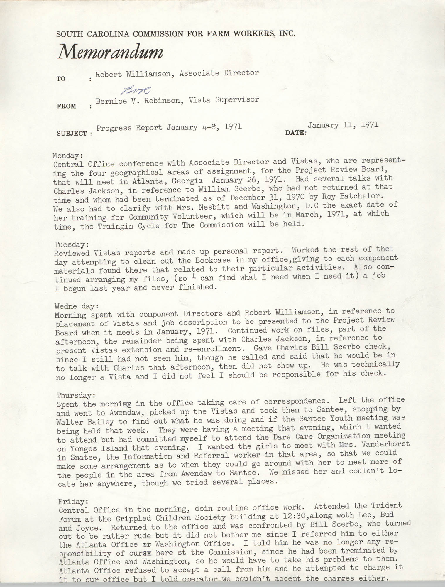 Memorandum from Bernice V. Robinson to Robert Williamson, January 11, 1971