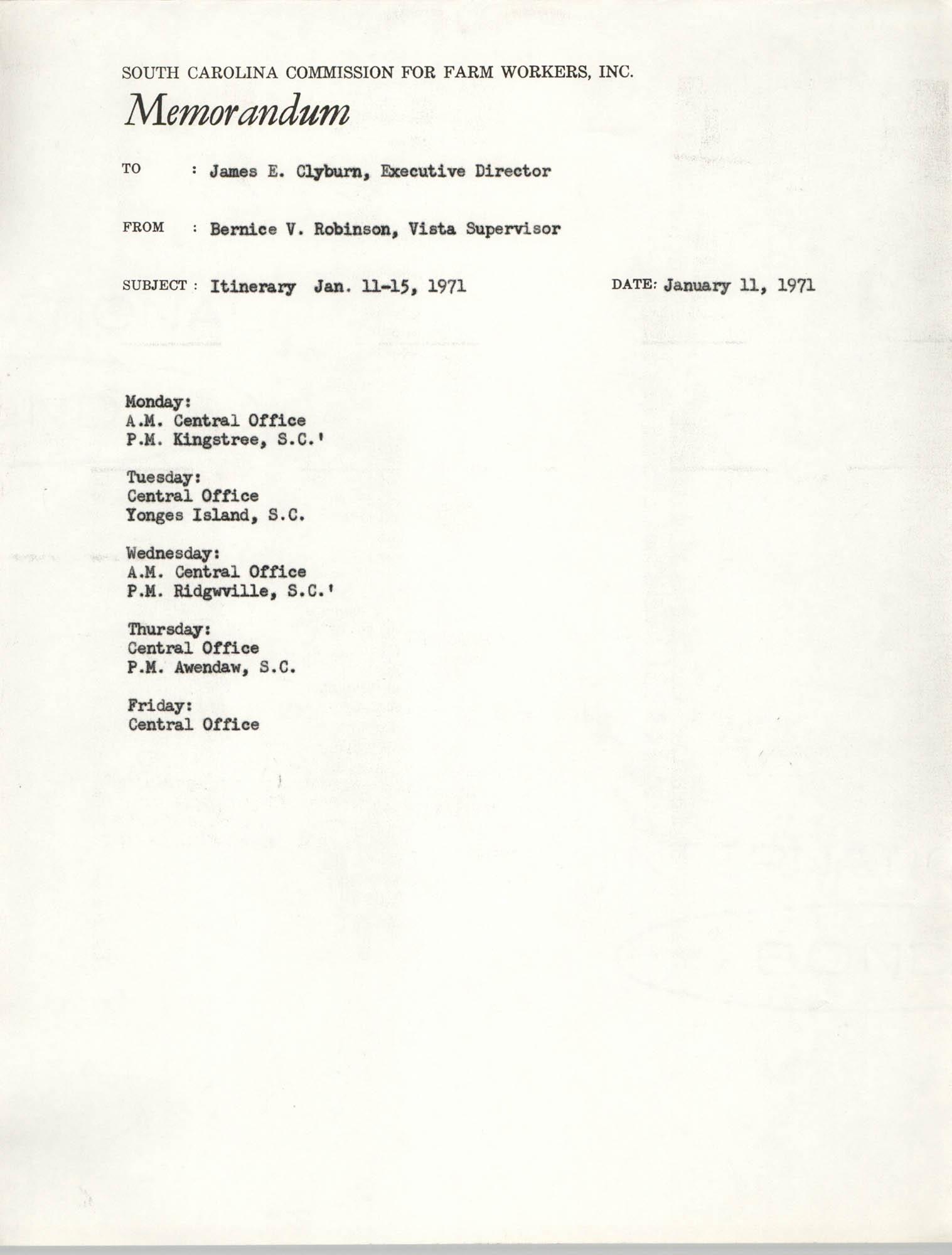 Memorandum from Bernice V. Robinson to James E. Clyburn, January 11, 1971