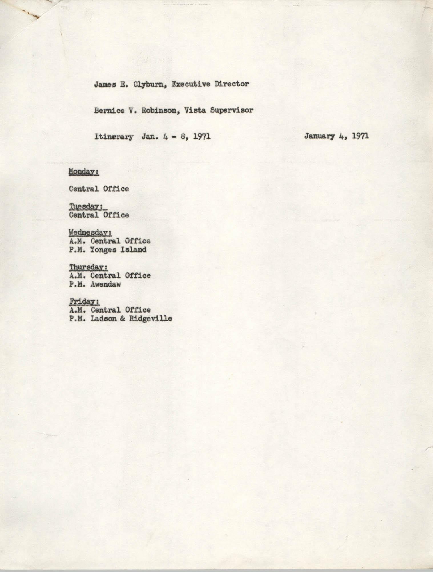 Memorandum from Bernice V. Robinson to James E. Clyburn, January 4, 1971