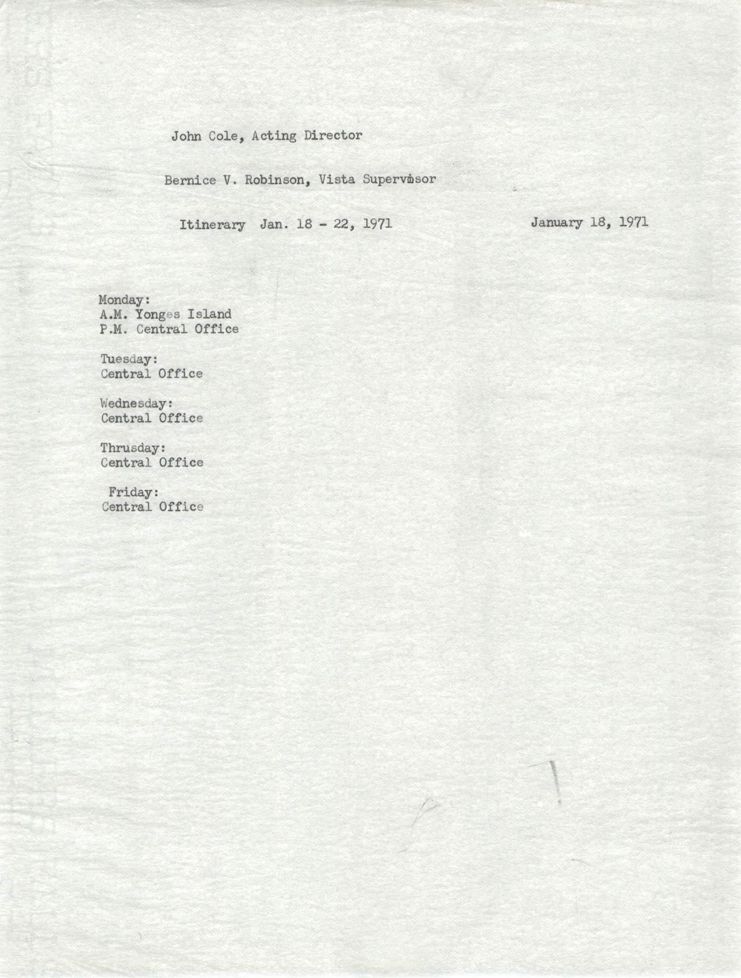Memorandum from Bernice V. Robinson to John Cole, January 18, 1971