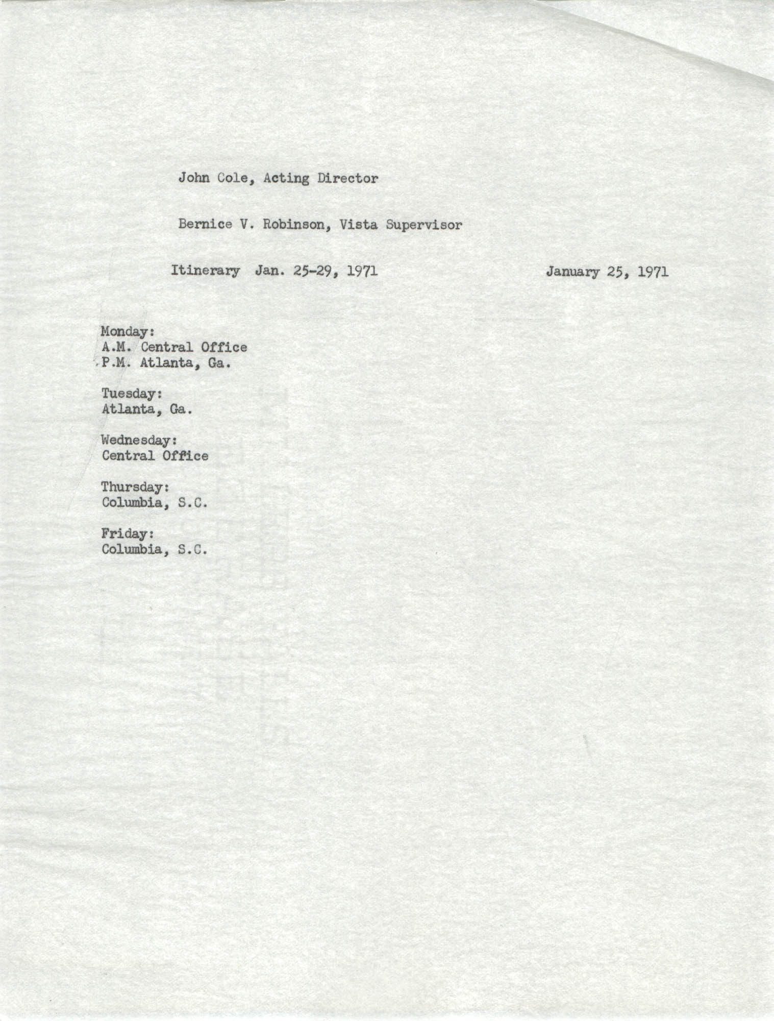Memorandum from Bernice V. Robinson to John Cole, January 25, 1971