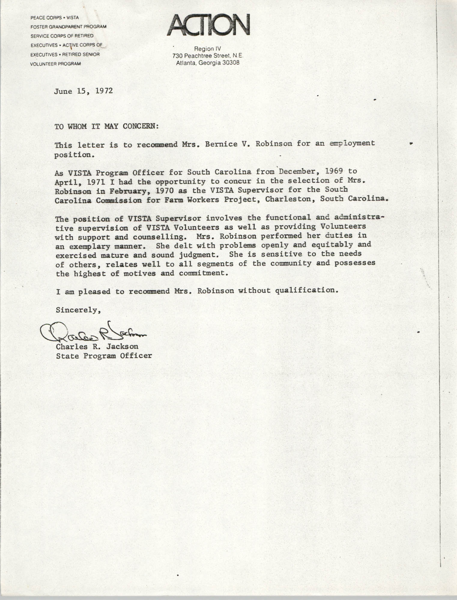 Letter from Charles R. Jackson to Action Region IV, June 15, 1971