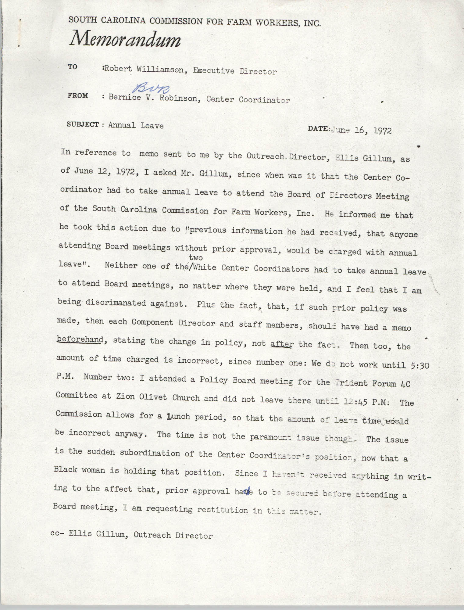 Memorandum from Bernice Robinson to Robert Williamson, June 16, 1971